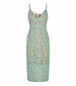 Mint Green Lace Scallop Neck Midi Dress New Look