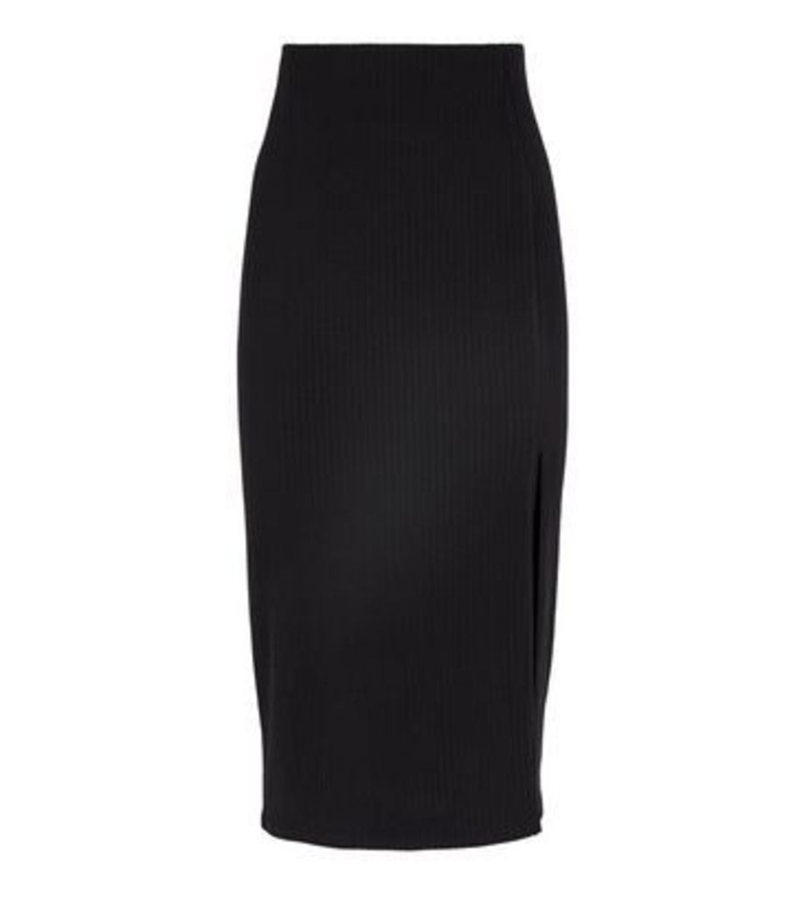 Petite Black Ribbed Midi Skirt New Look