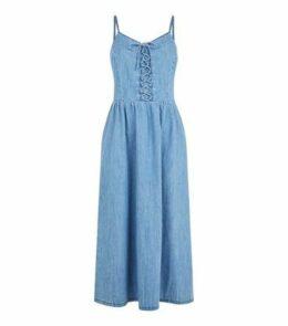 Tall Pale Blue Lace Up Denim Midi Dress New Look