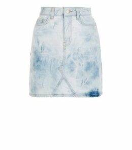 Pale Blue Tie Dye Denim Mom Skirt New Look