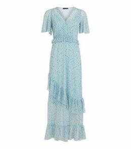 Blue Floral Mesh Frill Trim Midi Dress New Look