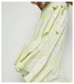 Green Tropical Ruffle Hem Midi Skirt New Look