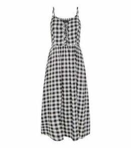 Tall Black Check Lace Up Midi Dress New Look