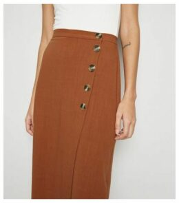 Rust Linen Look Button Up Midi Skirt New Look
