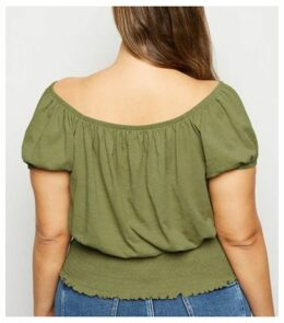 Curves Khaki Milkmaid Top New Look