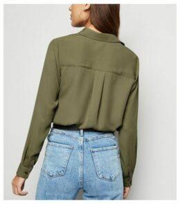 Khaki Long Sleeve Shirt New Look