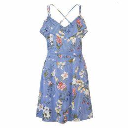 Rock and Rags Print Stripe Frill Dress Ladies