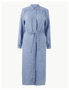 M&S Collection Pure Linen Striped Shirt Midi Dress