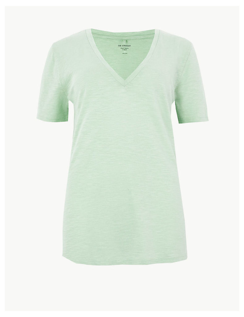 M&S Collection Cotton Rich V-Neck Straight Fit Slub T-Shirt