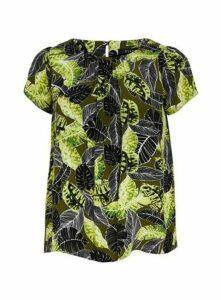 Khaki Print Shell Top, Mid Green
