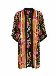 Black Floral Print Kimono, Black