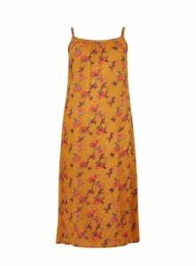 Yellow Floral Print Maxi Dress, Yellow