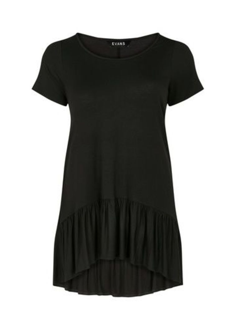 Black Frill Hem Tunic, Black