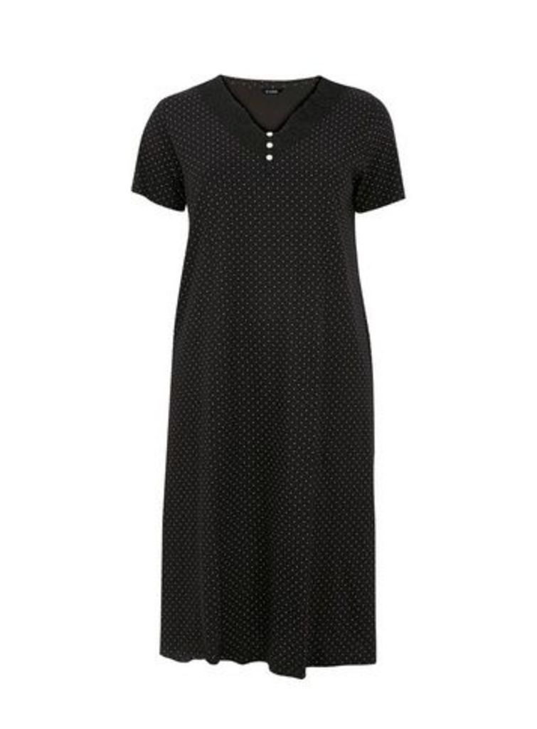 Monochrome Spot Long Nightdress, Black/White