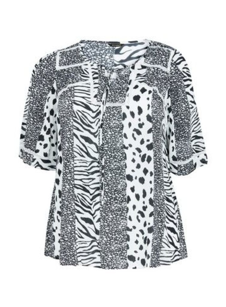 Black Animal Print Top, Black/White