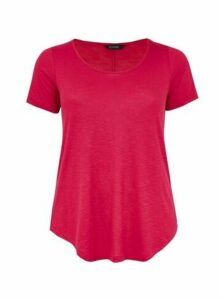 Pink Scoop Neck T-Shirt, Pink