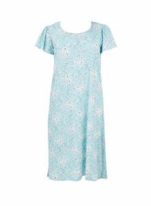 Blue Bouquet Floral Short Nightdress, Blue