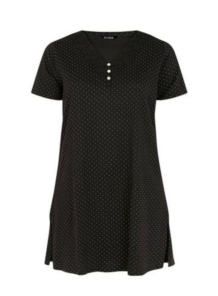 Monochrome Spot Print Short Nightdress, Black/White