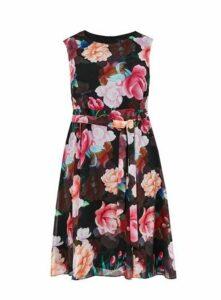 Black Floral Print Skater Dress, Bright Multi