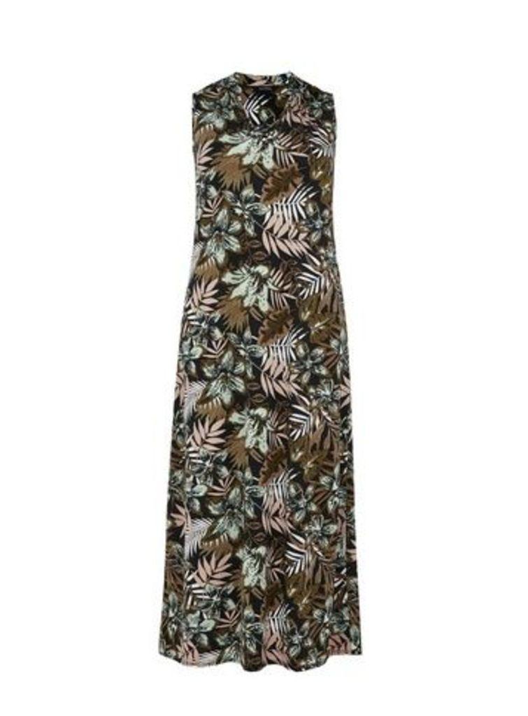 Black Palm Print Maxi Dress, Dark Multi