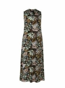 Black Palm Print Maxi Dress, Dark Multi