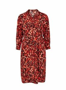 Red Leopard Print Shirt Dress, Red