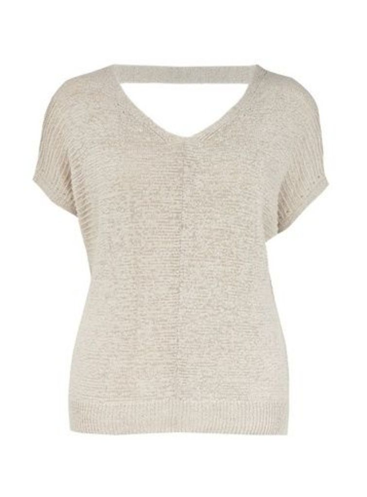 Stone Short Sleeve Jumper, Stone