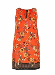 Orange Floral Print Shift Dress, Orange