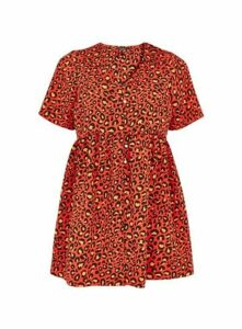 Red Animal Button Tunic Top, Red