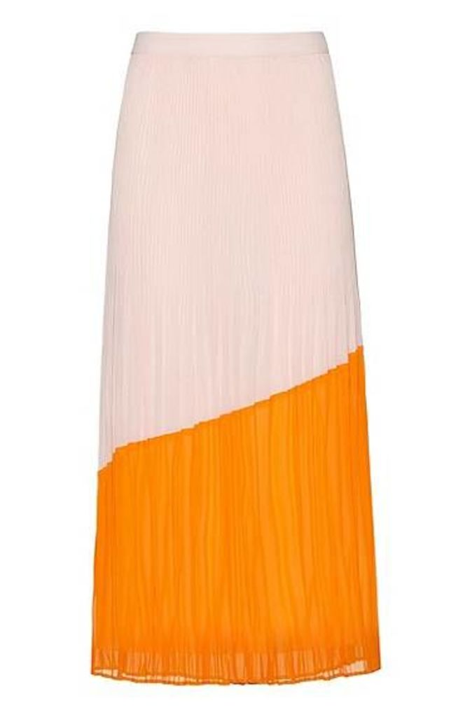 Midi skirt in colourblock plissé with full lining