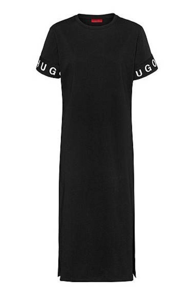 Midi T-shirt dress in jersey with logo cuffs