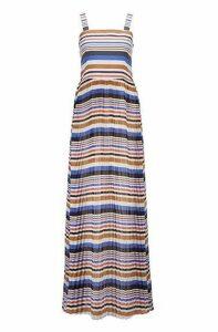 Slim-fit maxi dress with plissé skirt