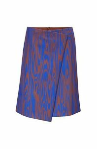 A-line wrap skirt with exclusive ripple-effect print