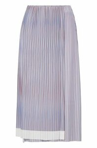 A-line skirt with plissé pleats and colour-block hem