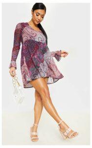 Petite Purple Paisley Smock Dress, Purple