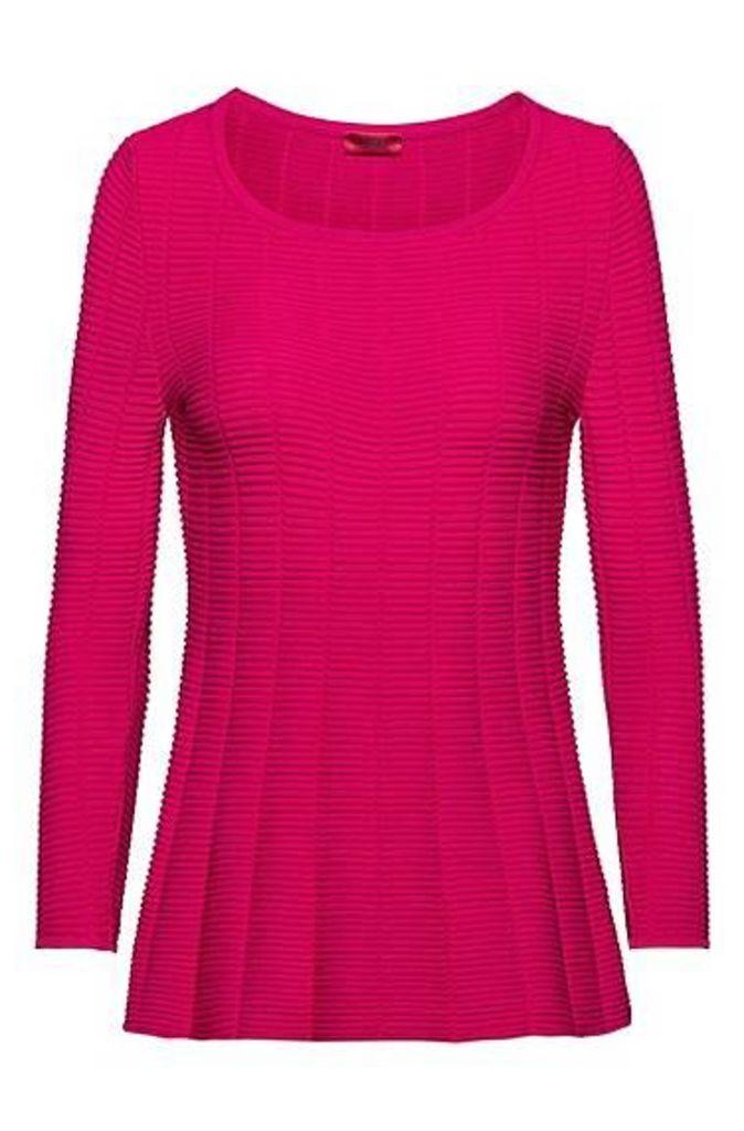 Slim-fit super-stretch sweater with peplum hem