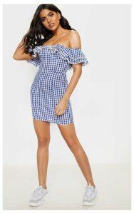 Navy Gingham Frill Bardot Bodycon Dress, Blue