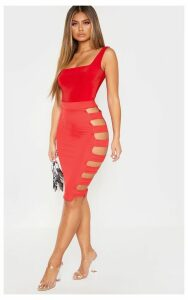 Red Side Split Tie Side Midi Skirt, Red