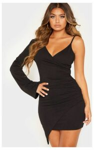 Black Ruched Side Asymmetric Hem Bell Sleeve Bodycon Dress, Black