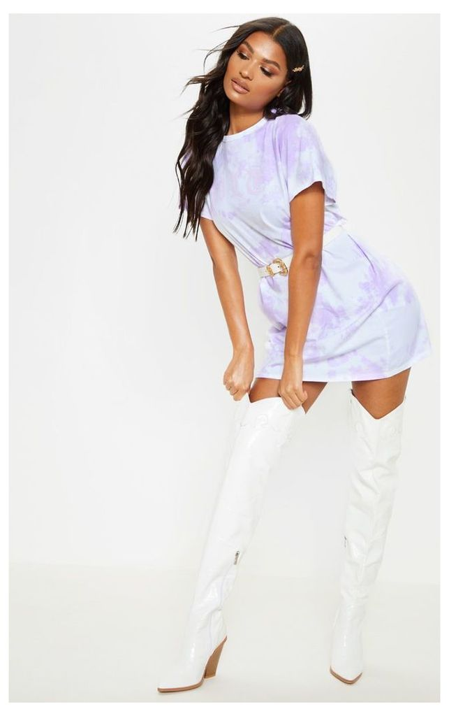 PRETTYLITTLETHING Lilac Tie Dye T Shirt Dress, Purple