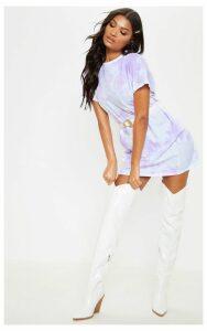 PRETTYLITTLETHING Lilac Tie Dye T Shirt Dress, Purple