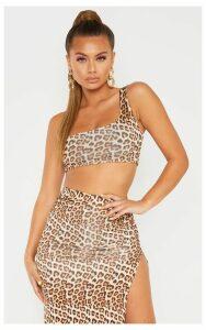 Tan Leopard Print One Shoulder Crop Top, Brown