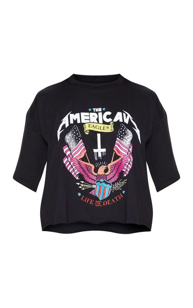 Black Printed Crop T Shirt, Black