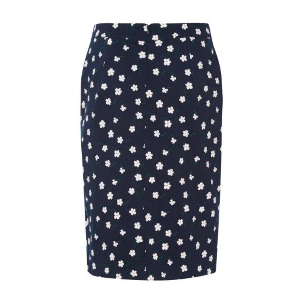 Navy Falling Flower Skirt