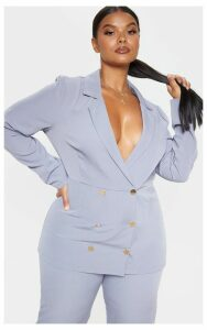 Plus Dusty Blue Gold Button Fitted Blazer, Blue