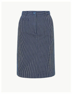 M&S Collection Cotton Rich Striped A-Line Skirt