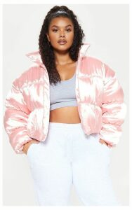 Plus Rose Satin Puffer Coat, Pink
