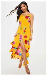 Orange Tropical Print Scoop Neck Split Maxi Dress, Orange