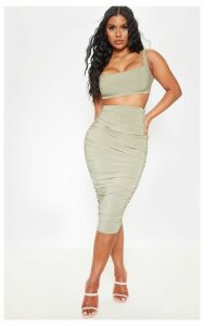 Sage Green Slinky Second Skin Ruched Midi Skirt, Sage Green