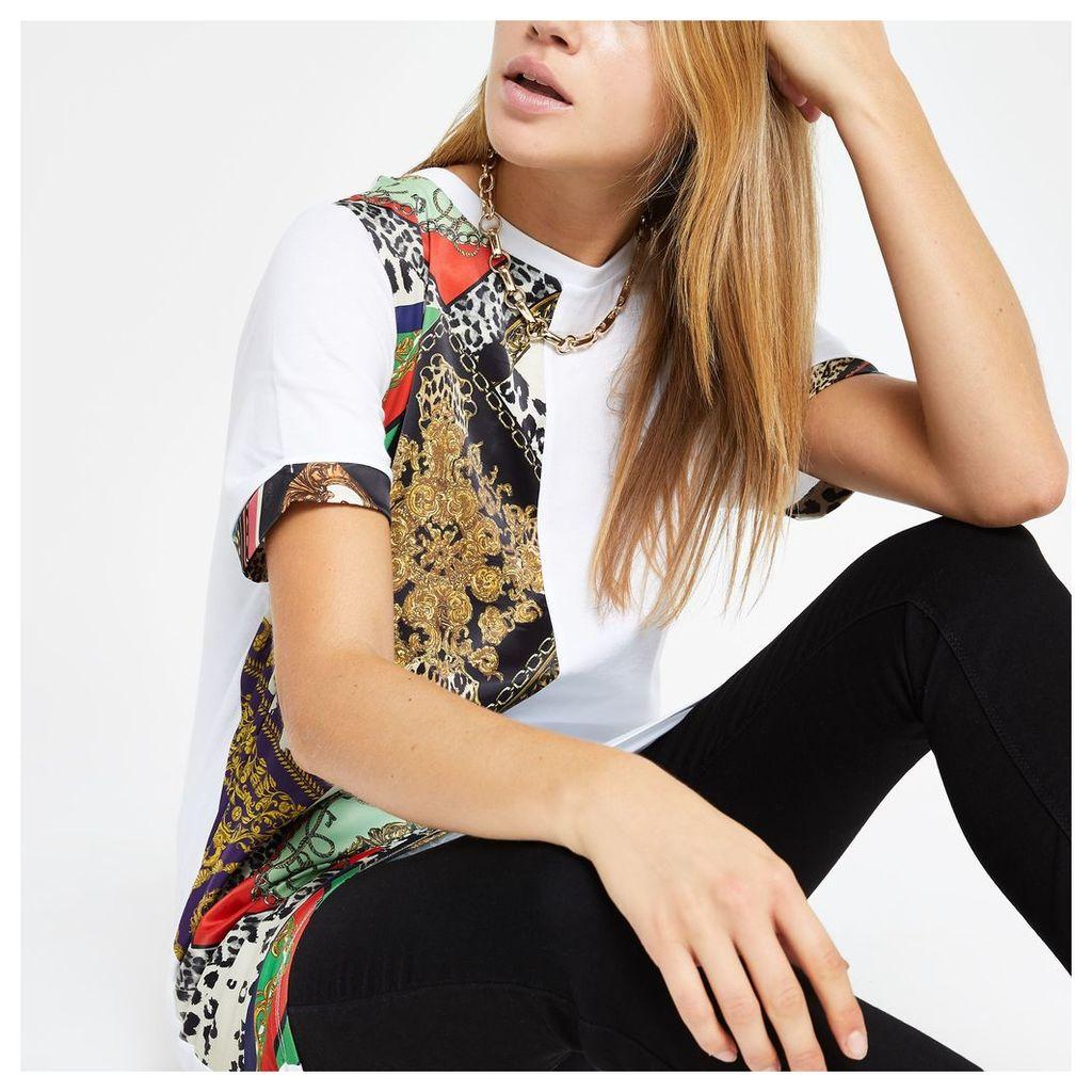 Womens White mix printed jumbo T-shirt